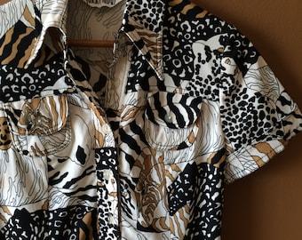 Safari Shirt Dress Abstract Wild Animals Leopard Zebra M