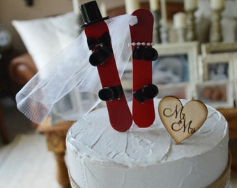 snowboarding wedding cake topper silhouette ski winter sport bride and groom skiing decorations themed Mr & Mrs snowboard couple decoration