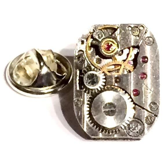 SALE Watch Movement Accessory- Mens Tie Tack OR Unisex Pin, Vintage Clock Parts Gears Jewels- Mans Handcrafted Gift Idea- Father Husband by Lynx2Cuffs steampunk buy now online