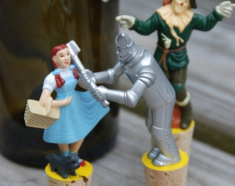 The Wizard of Oz Wine Bottle Stopper Dorothy with Toto, Scarecrow, and Tin Man