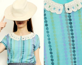 ONLY S/M size available - Handmade Silk Blouse with collar [Lullaby blouse/Turquoise]