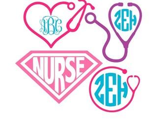 Nurse Svg, Nurse Svg Files, Stethoscope Svg, Nurse Monogram Svg, Cricut Svg, Silhouette Files