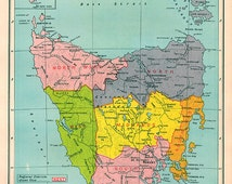 1940s Map Tasmania, Australia state atlas map