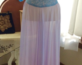 LOVELY LAVENDER and PERIWINKLE 1930s/1940s sheer gown-As Is