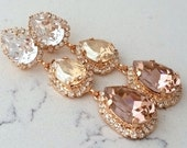Blush bridal earrings,Long chandelier earrings,Champagne blush earrings,Rose Gold blush bridesmaid earring,Dangle earring,Swarovski earrings