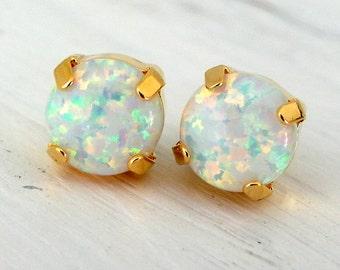 Opal earrings,White Opal stud earrings,Opal studs,Opal stud earrings, Gold or silver stud earrings, October birthstone earrings, opal studs