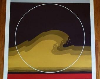 Vintage 1979 Thomas W. Benton Abstract Wave Poster Silkscreen Signed AP GONZO A