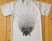 Hedgehog illustration T-shirt // Animal Screen Print T-shirt // Grey // available in Men sizes S, M, L, XL