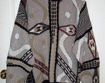 Vintage Men's Brown Black & White Geometric Print Sweater by London Fog Medium Only 10 USD