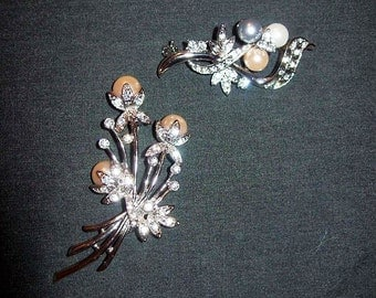 Vintage Pearl & Rhinestone Silver Brooch Pins Both for 8 USD
