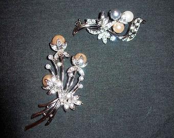 Vintage Pearl & Rhinestone Silver Brooch Pins Both for 6 USD