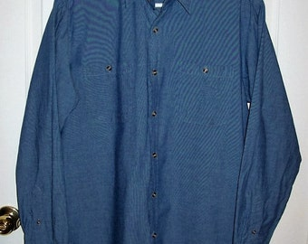 Vintage Men's Blue Chambray Shirt by Ely Cattleman Large Only 7 USD