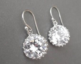 Cubic Zirconia earrings~AAA+,Round,Brides earrings,Sterling Silver French wires,Wedding earrings,Sparkles like diamonds,Bridesmaids earrings