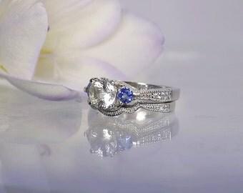 Tanzanite Engagement Ring, Tanzanite Wedding Set, Tanzanite Sterling Ring, Herkimer Diamond, Sterling Wedding Set, Three Stone Ring