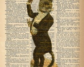 Dictionary Art Print - Fancy Cat -  Funny Cat Poster - Upcycled Vintage Dictionary Page Poster Print - Size 8x10