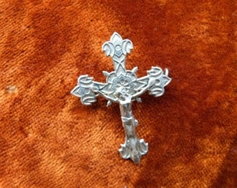 Antique French religious jewelry brooch pin silver plate cross crucifix w Jesus Christ, religious jewelry w corpus christi