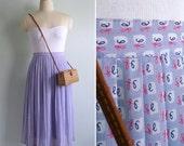 Vintage 80's 'Cursive Script' Lilac Purple Pleated Skirt S or M