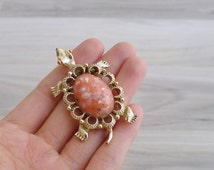 Vintage 80's Peach Coral Jelly Belly Gold Tone Tortoise Brooch or Pendant