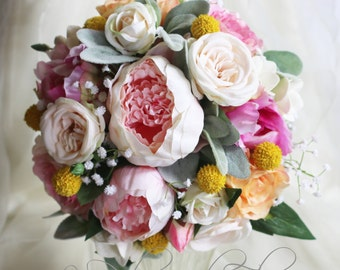 Pandora - Wedding bouquet - pink, cream & peach.  Roses, peonies, babies breath, billy buttons and dusty miller.