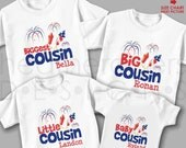 4th of July Biggest Cousin Shirt, Big Cousin Shirt, Little Cousin Shirt & Baby Cousin Bodysuit - 4 Personalized Matching Cousin Shirts