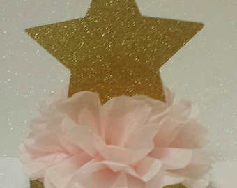 Twinkle Twinkle little star pink gold Glitter Birthday party or Baby shower Table Centerpiece other Colors available