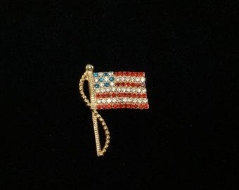 Vintage Patriotic US American Flag Pin Red White Blue Rhinestones