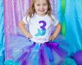 Mermaid Birthday Tutu Outfit-Mermaid Tail Birthday Number Tutu Set-Mermaid Party Outfit-Mermaid Birthday Outfit *Bow NOT Included*