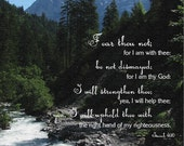 Fear thou not; for I am with thee ... I will strengthen thee   Isaiah 41:10 KJV Scripture   11 x 14 Christian Canvas or Wall Art