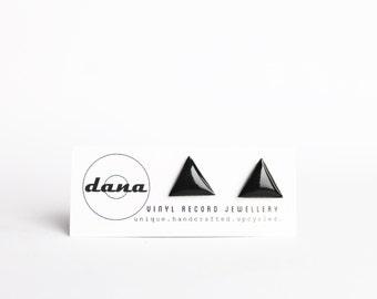 triangle studs black studs vinyl record studs minimalist stud earrings simple stud earrings eco-friendly gift for her hipster earrings LP