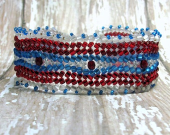 Patriotic Herringbone Bracelet, Red, White and Blue Bracelet, Fourth of July Bracelet, Seed Bead Bracelet, Woven Bracelet, July 4th Jewelry