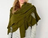 Viking costume, Boho cutouts wool shawl, Large Nomad knit Scarf, Celtic clothing, Felt wool wrap, Green camo Best friend gifts
