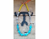 Color blocking Turquoise blue nuggets, Gray agate, and yellow crystal beaded necklace