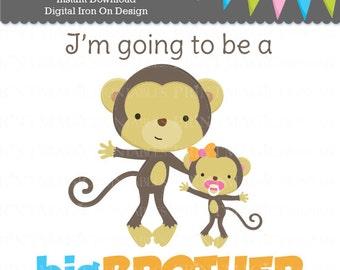 Monkey Big Brother Little Sister - Digital Iron On - Big Brother Digital Sticker Design - Pregnancy Announcement - Digital Tshirt Design