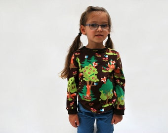 Kids fox top sweater brown green foxy jersey print soft cotton fox kids clothing baby jumper tree nature animals toddler natural babies cute
