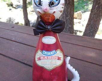 "Vintage 60's  Cat Decanter ""Chianti Bardi"" Italy Wrapped in Leather Original Vintage 1961 - 12"""