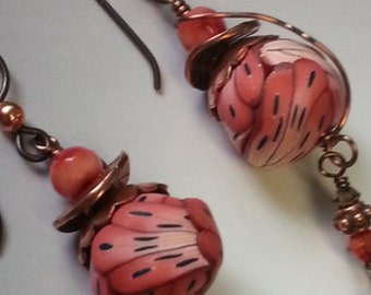 Klews'  Coral Drop Earrings