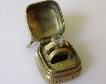 Large Gold Ring Box and Wedding Rings Opening Charm