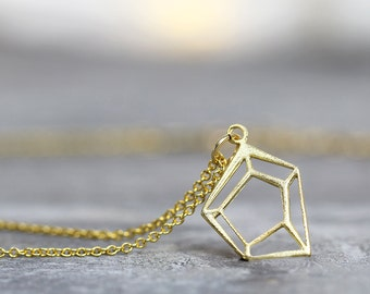 Gold Geometric Necklace - Minimalist Necklace - Modern Jewelry - Simple Necklace  - Dainty Necklace for Her - Minimalist Jewelry