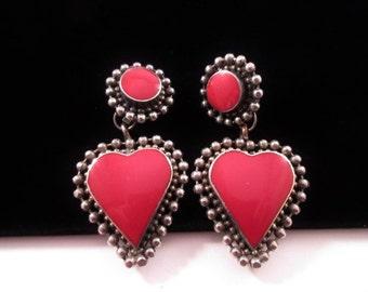 Vintage Red Heart Clip Earrings