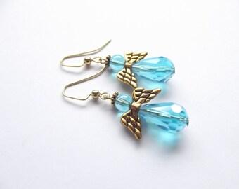Blue Angel Earrings, Angel Wings, December Birthday Stone, Dangle & Drop