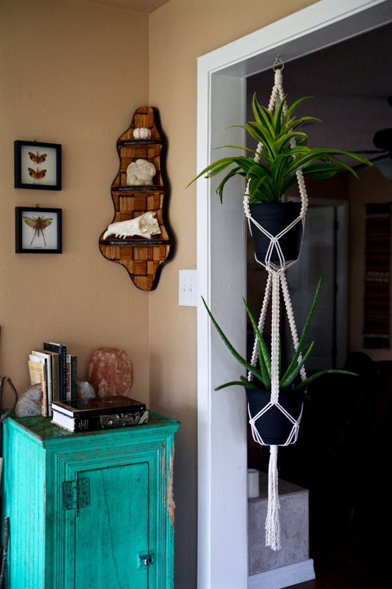 "Macrame Plant Hanger - 60"" 3 Strand Knotted Double"