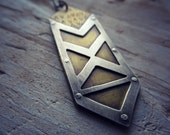 Mixed Metal Geometric Arrow Pendant - Brass and Sterling Silver Necklace