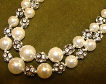 FAUX PEARL and RHINESTONE double strand necklace 1960's 60's
