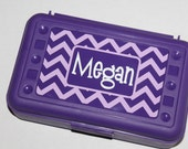 CHEVRON Personalized Pencil Box/ Art Supply Holder -  Back to School Surprise Gift  - Most Popular Back to School Gift - Many Colors/Designs