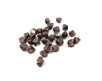 Zircon Tetragons 3 Raw Crystals 5mm - 7mm Red Brown Natural Rough Stones (Lot ZI57) Geometric Zirconite