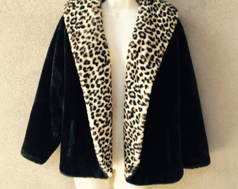 Vintage 1950s Faux Leopard Fur Coat Borgana Borg Deluxe Medium - Large Size SALE