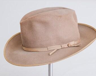 1950s Wide Brim Fedora Mid Century Rockabilly Distressed Brown Wool Hat