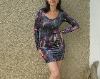 Vintage 80s crushed VELVET bodycon dress, size XS-S