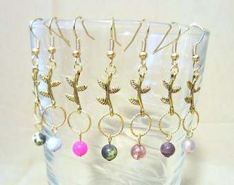 Gold Branch w/Leaves, Rope Ring & Semi Precious Bead Dangle Earrings, Handmade Original Design Fashion Jewelry, Simple Bold Unique Style