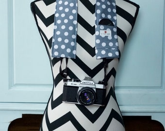 DSLR Camera Strap Cover- lens cap pocket and padding included- Grey and White Polka Dot